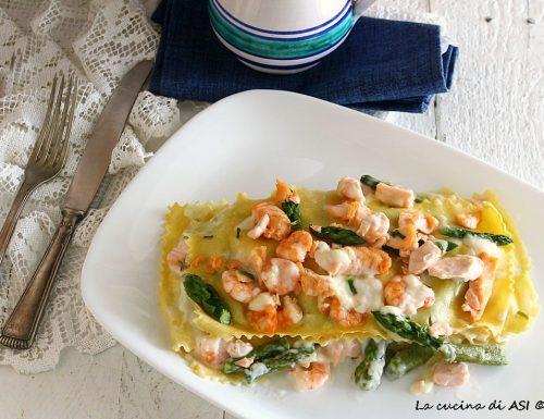 Lasagnette asparagi salmone e mazzancolle