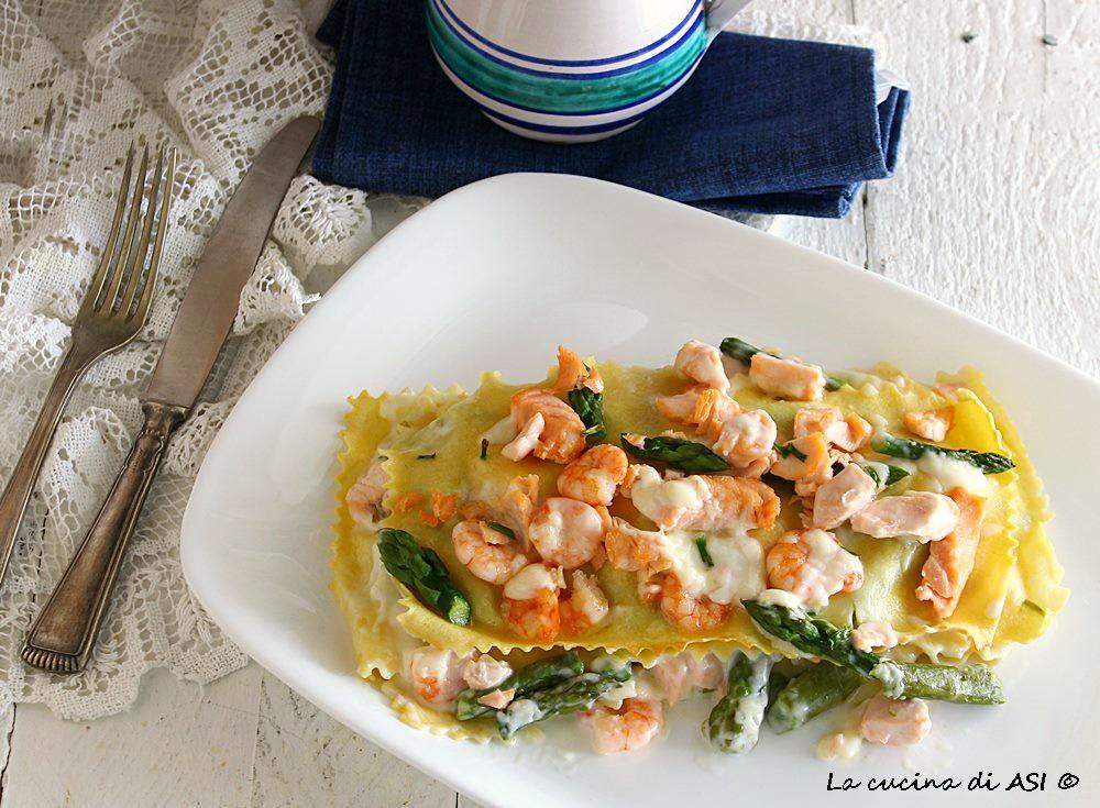 Lasagnette asparagi salmone mazzancolle