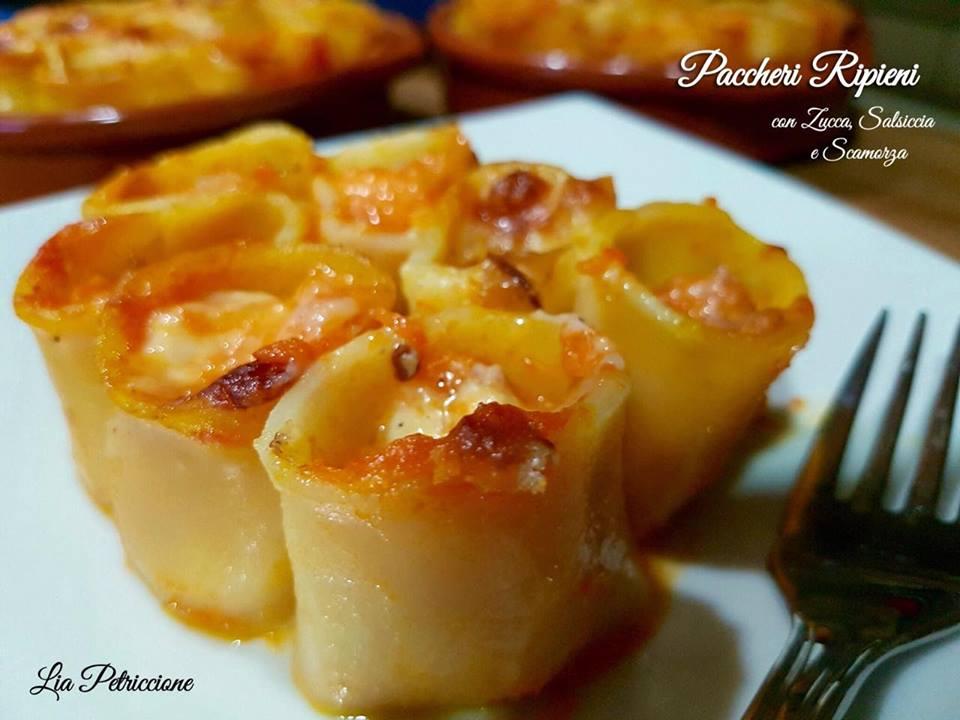 paccheri ripieni zucca salsiccia scamorza7 Lia