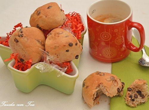 Panini di Natale al latte con gocce di cioccolato