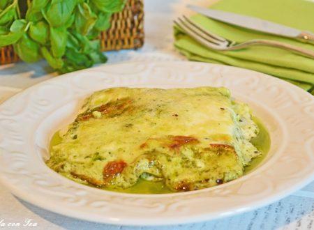 Lasagne al pesto con patate fagiolini e pinoli