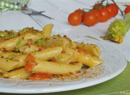 Pasta zucchini pomodoro e bottarga
