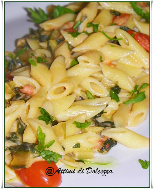 PENNE CON CICORIA E CRESCENZA 26-03-13 copia