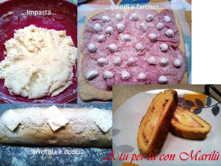 Rotolo di patate farcito con prosciutto cotto e mozzarella