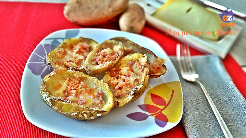 Patate ripiene al forno con prosciutto mozzarella, ricetta facile