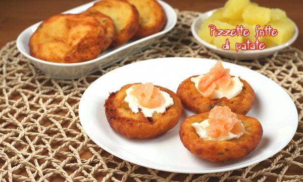 Pizzette di patate con salmone e formaggio spalmabile