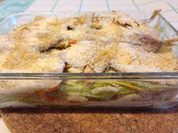 Tortino di fiori di zucchina e sardine