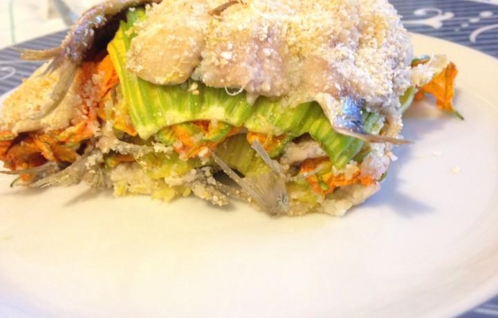 Tortino di sardine e fiori di zucchina (ricetta secondo piatto)