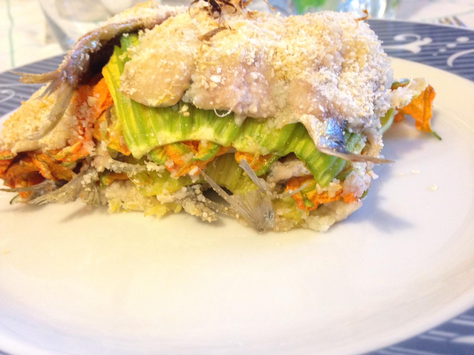 tortino di sardine e fiori di zucchina