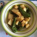 peperoni verdi fritti e patate