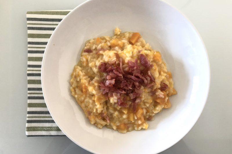 Risotto con zucca robiola e pancetta croccante