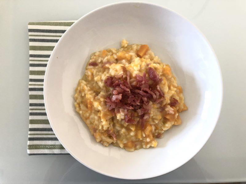 risotto con zucca robiola e pancetta