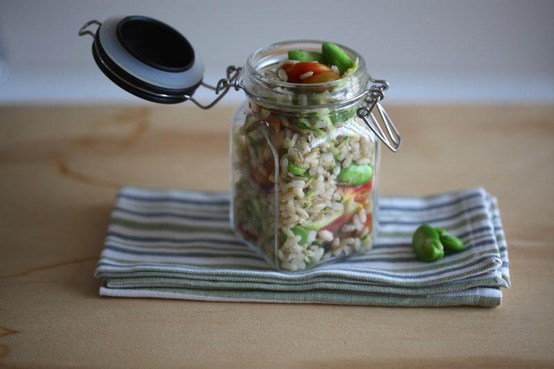 riso freddo con fave pomodorini e zucchine