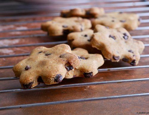 Biscotti integrali senza zucchero al cioccolato fondente o cookies