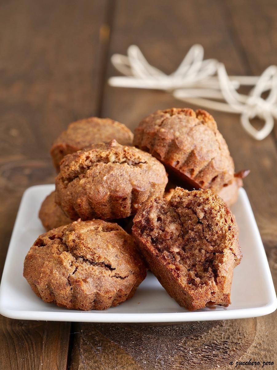 Muffin integrali alle noci e miele senza burro, senza latte e senza uova