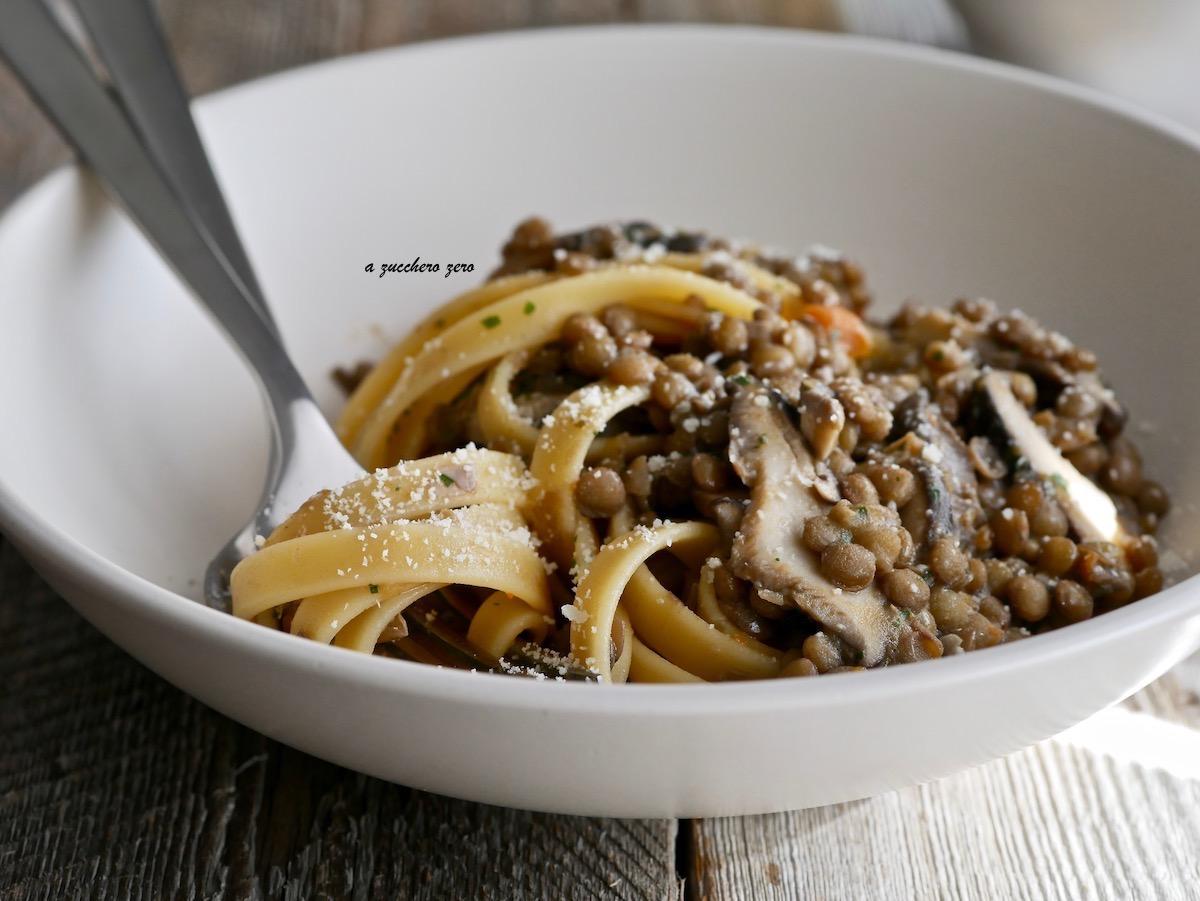 Ricetta Lenticchie E Funghi.Pasta Con Lenticchie E Funghi Cardoncelli A Zucchero Zero