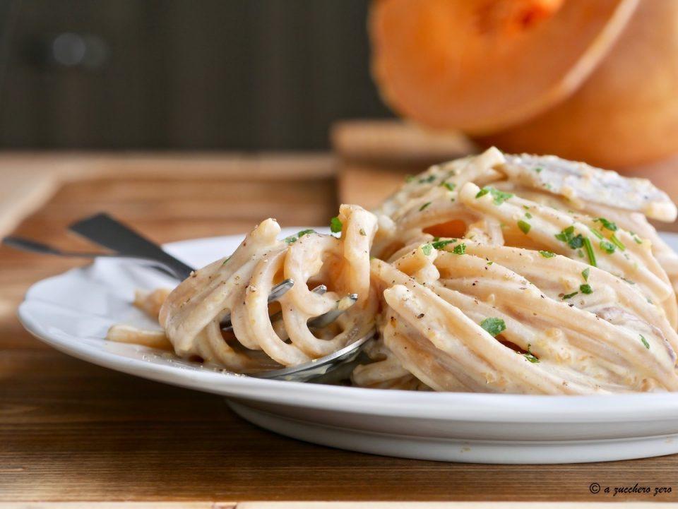 Pasta integrale zucca ricotta e funghi porcini
