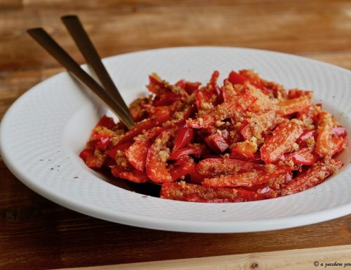 Peperoni gratinati al forno light o peperoni ammuddicati