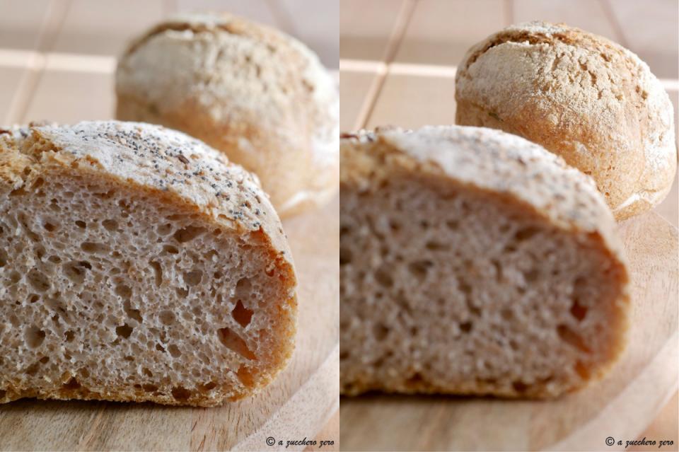 Pane con farina integrale di grano tenero e di tipo 2 ciabatte e panini