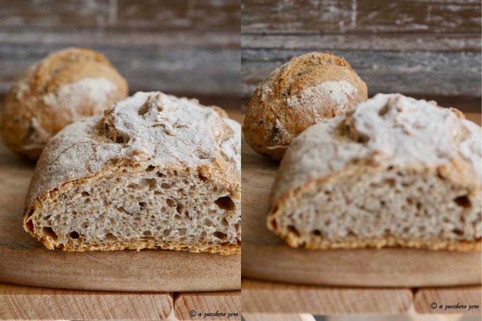 Pane ai semi misti con farina integrale ciabatte e panini