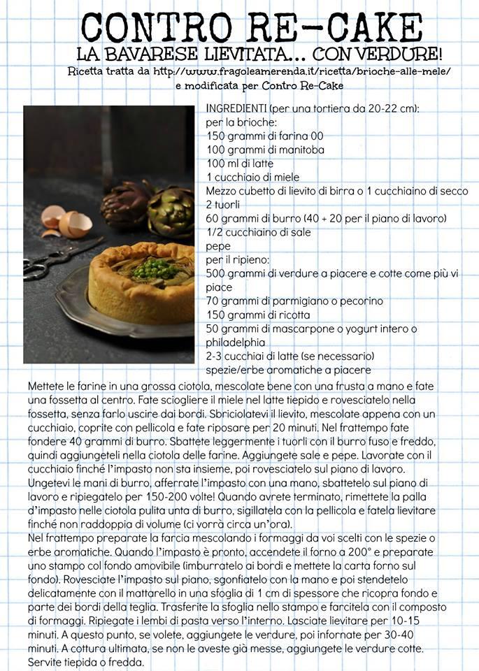 locandina del gruppo contro re-cake con la ricetta della bavarese lievitata con verdure