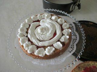 metà disco di torta con panna