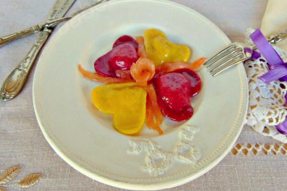 Cuori di zucca,patate e salmone
