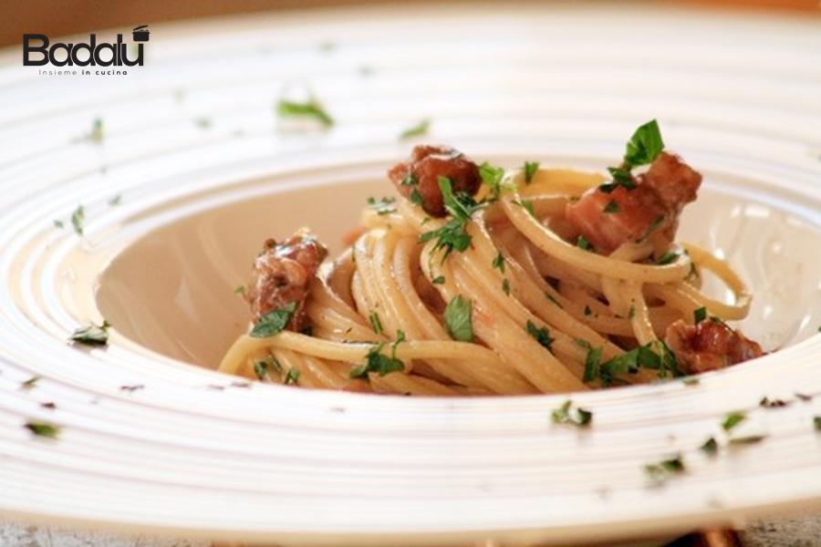 Spaghetti guanciale e zucca