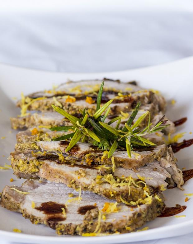 Arista di maiale in crosta di pistacchi