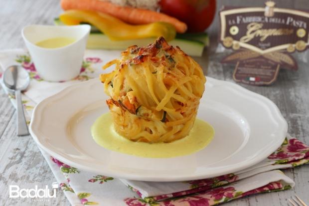 Timballini di linguine al ragù di verdure- la fabbrica della pasta di gragnano