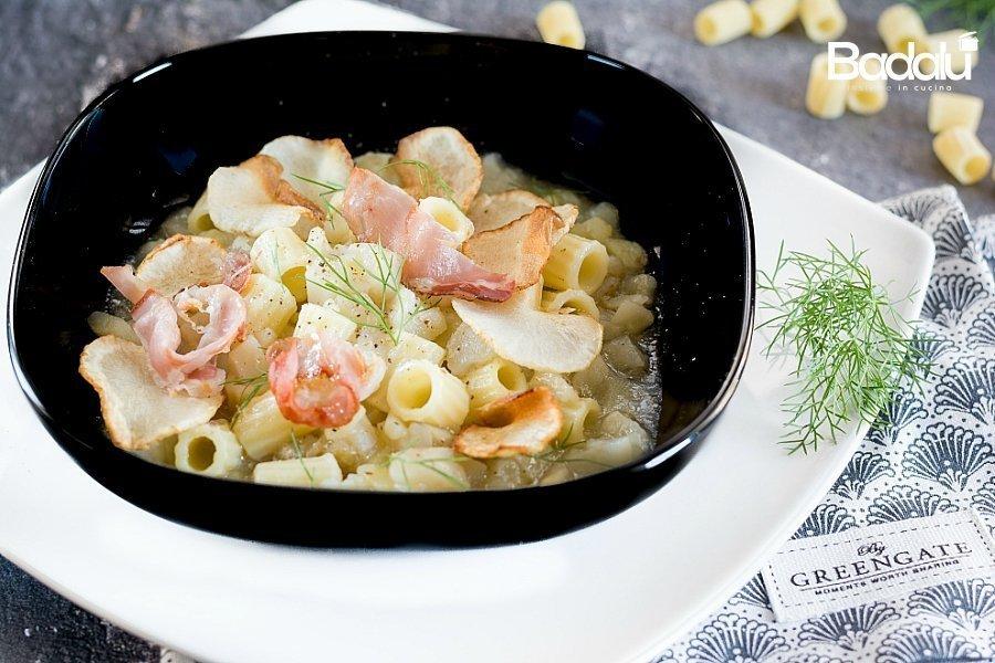 Minestra di topinambur e patate con speck croccante e finocchietto La fabbrica della pasta di Gragnano