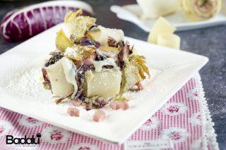 Pasta senza glutine con radicchio carciofi e taleggio Mezzi paccheri di Gragnano senza glutine