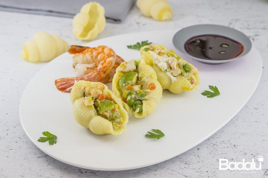 La-Gnocca-con-pollo-e-gamberi-zenzero-e-salsa-di-soia -la fabbrica della pasta di gragnano