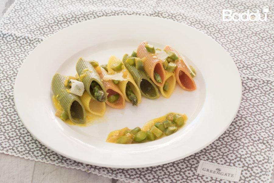pasta tricolore con asparagi e crema di zafferano- La fabbrica della pasta di gragnano