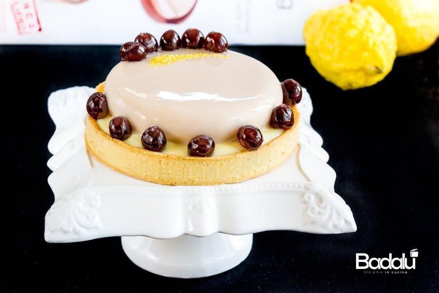 Crostata con crema al limone e semifreddo all'amarena Silikomart