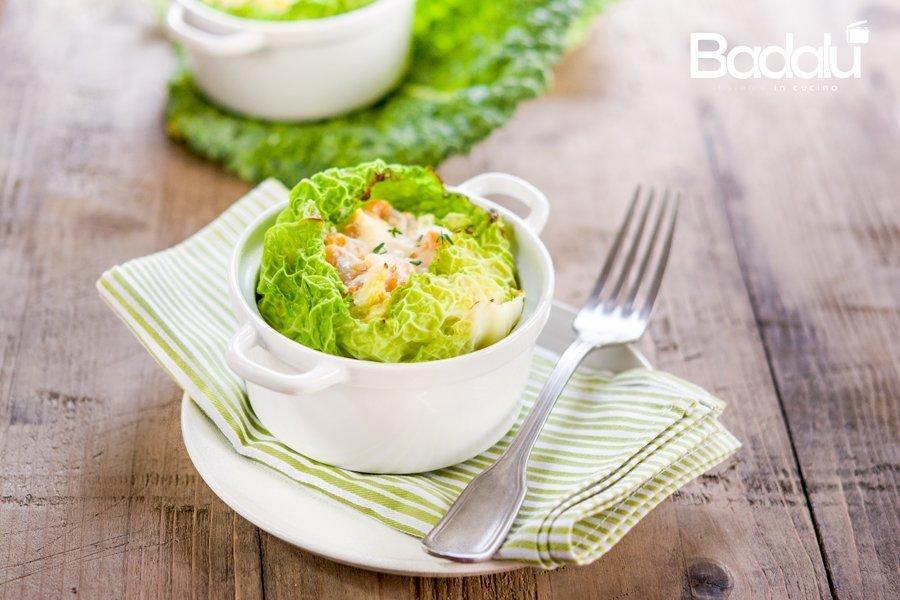 Sformatini di verza con ricotta zucca e salame piccante