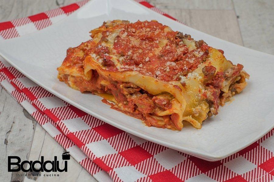 Lasagna con melanzane fritte e mozzarella di bufala affumicata -la fabbrica della pasta di Gragnano