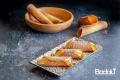 Gelato al latte e arancia candita in cannoli di cialda croccante