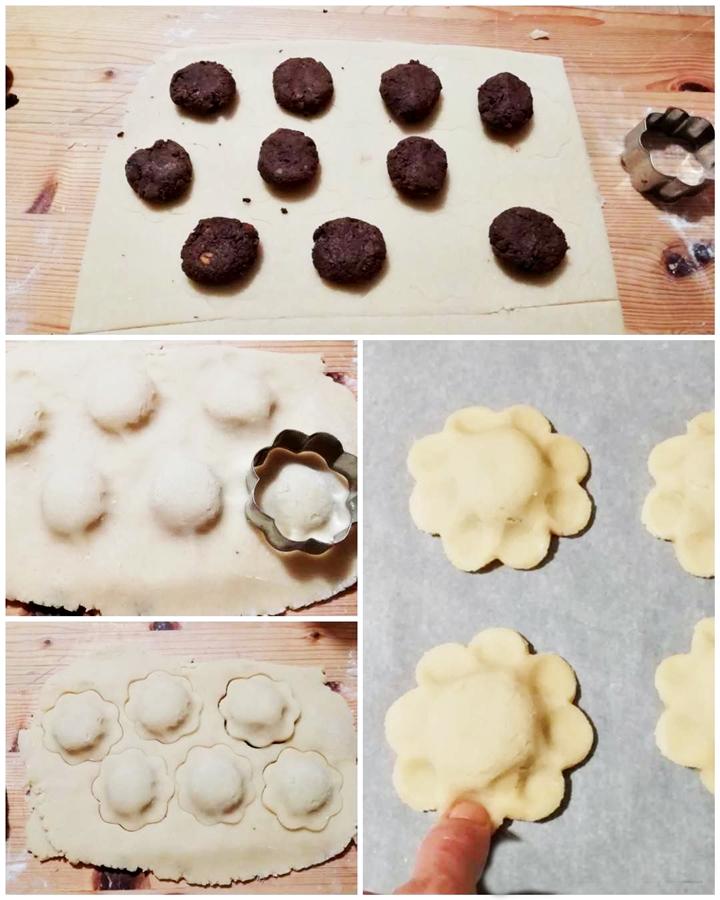 preparazione biscotti con castagne e cioccolato fondente