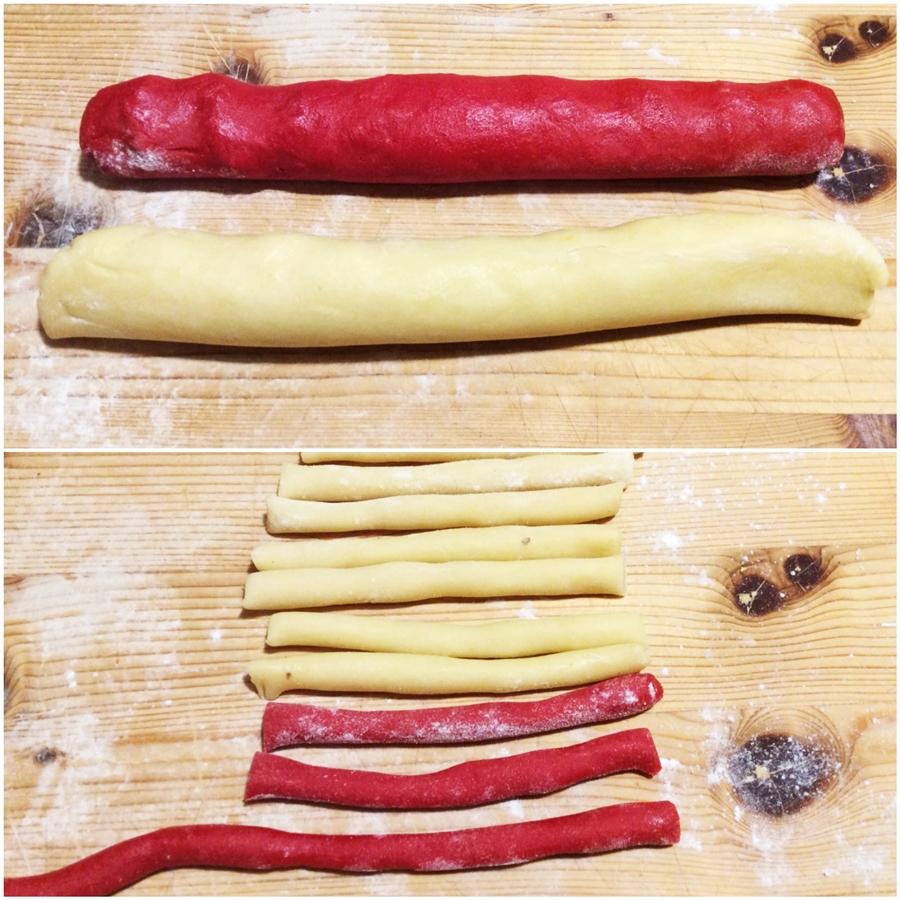 Preparazione biscotti candy cane