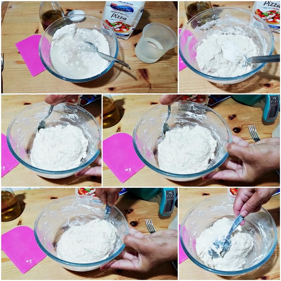 fasi dell'Impasto muffin di pizza con olive acciughe e pomodorini