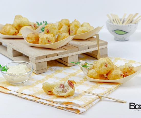 Frittelle veloci con formaggio e salumi- lo conte farine