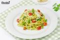 Linguine con fagiolini e salsa al basilico rucola e prezzemolo