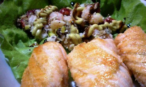 Involtini di salmone ai pistacchi e gamberetti