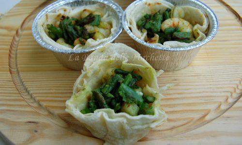 Cestini di piadina gamberetti ed asparagi