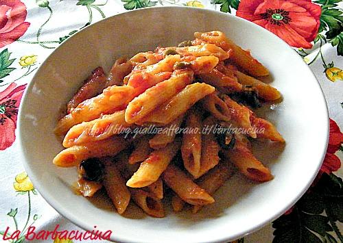 penne al sugo mediterraneo, ricetta primi piatti La Barbacucina