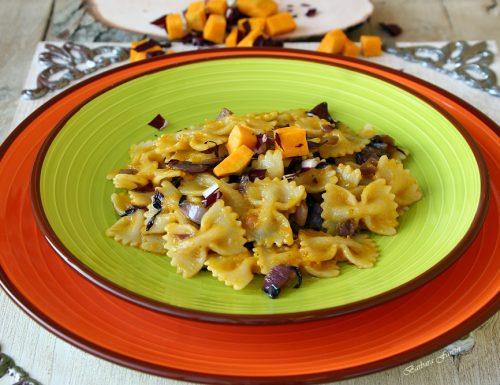 Pasta radicchio e zucca, ricetta primi piatti, ricetta vegetariana