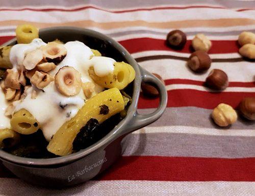 Pasta con Broccolo Fiolaro, crema formaggi e nocciole, ricetta primi piatti