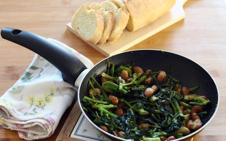 Broccolo Fiolaro con fagioli, ricetta vegana