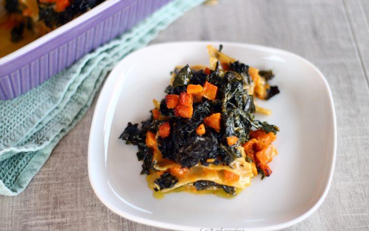 Lasagne di lenticchie con zucca e cavolo nero